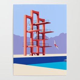 Soviet Modernism: Diving tower in Etchmiadzin, Armenia Poster