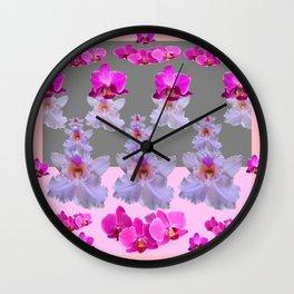 PURPLE  FUCHSIA ORCHIDS  SPRINKLES ON  GREY-PINK ART Wall Clock