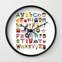 sesame street Wall Clocks featuring Sesame Street Alphabet by Mike Boon