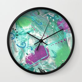 Turquoise abstracke painted artwork Wall Clock
