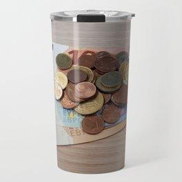Euro Coins and Bills Travel Mug