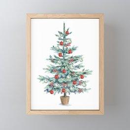 Christmas tree with red balls Framed Mini Art Print
