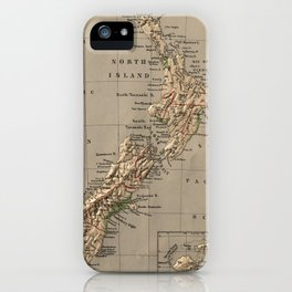 Vintage New Zealand Physical Map (1880) iPhone Case