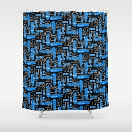 Gamer Lingo-Black and Blue Shower Curtain