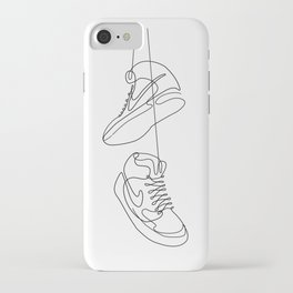 Sneakers simple minimal one line art, hanging shoes branded shoes  iPhone Case