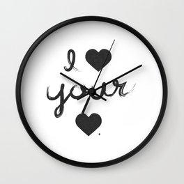 i heart your heart Wall Clock
