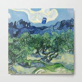 Tardis Flying Tree Metal Print