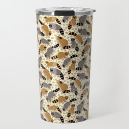 Adorable Racoon Friends, Animal Pattern in Nature Colors of Grey and Brown with Paw Prints Travel Mug