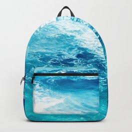 Teal Blue Ocean Waves Backpack
