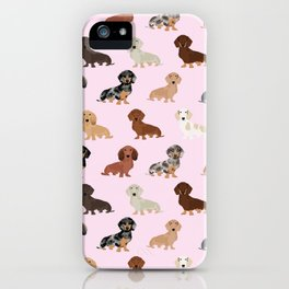 Dachshund dog breed pet pattern doxie coats dapple merle red black and tan iPhone Case