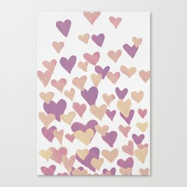 Valentine's Day Watercolor Hearts - pastel pink Canvas Print