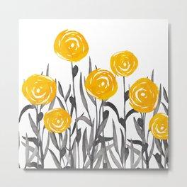 Fall Sunshine, Floral Print, Yellow and Gray Metal Print