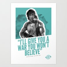 Badass 80's Action Movie Quotes - Rambo: First Blood Art Print