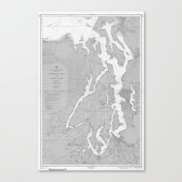 Puget Sound Washington State Nautical Chart Map Print 1956, Map Art Prints Canvas Print