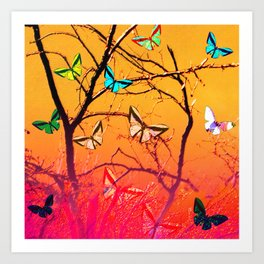 Yellow butterflies Art Print