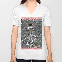 unicorn V-neck T-shirts featuring Unicorn by AKIKO