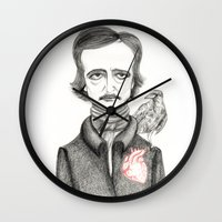 poe Wall Clocks featuring Allan Poe by Pendientera