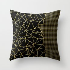 Ab Outline Grid Black and Gold Throw Pillow