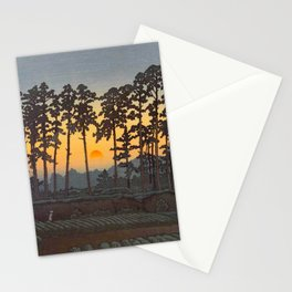 Japanese Woodblock Print Morning Sunrise Farm Tree Silhouette Stationery Cards