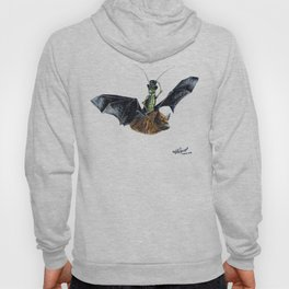 Rider in the Night.  Fantasy watercolor of a bat in the night with a cricket as his rider. Animal Hoody
