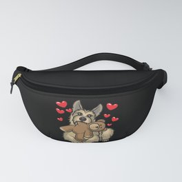Berger Picard Dog with hearts Fanny Pack