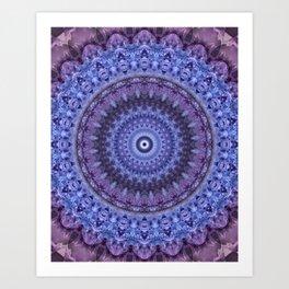 Mandala in violet and blue tones Art Print
