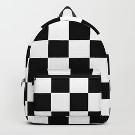Checker Cross Squares Black And White Backpack