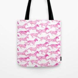 Running Watercolor Horses Pattern - Pink Tote Bag