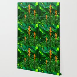 GREEN JUNGLE & TROPICAL CORAL BROMELIAD FLOWERS Wallpaper