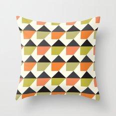Orange & lime geometric pattern Throw Pillow