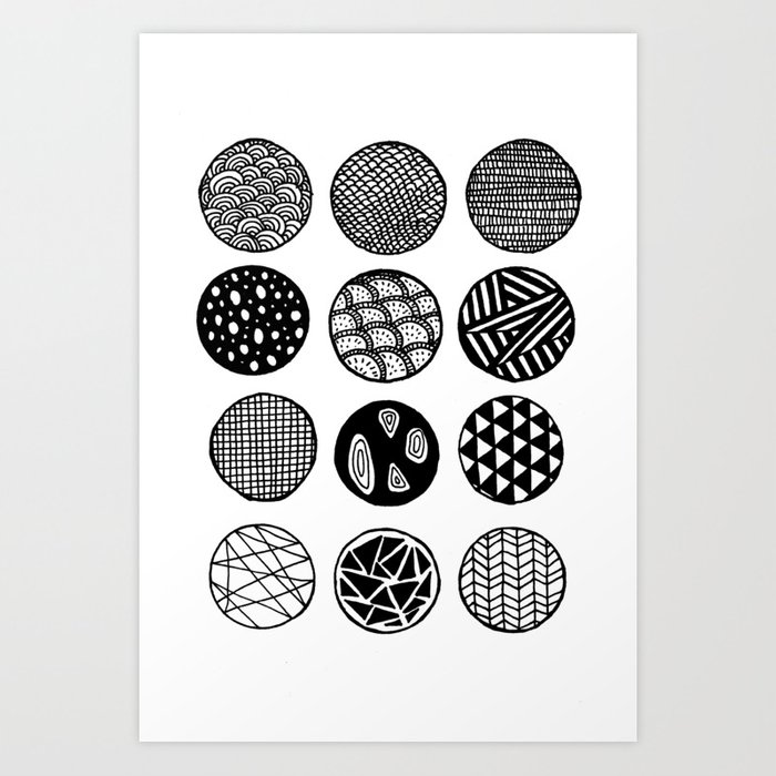 Simple Circle Patterns Collection Art Print by carissatanton