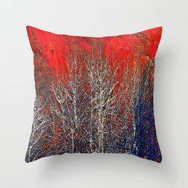 White Trees in Red Rocks Colorado USA  Throw Pillow