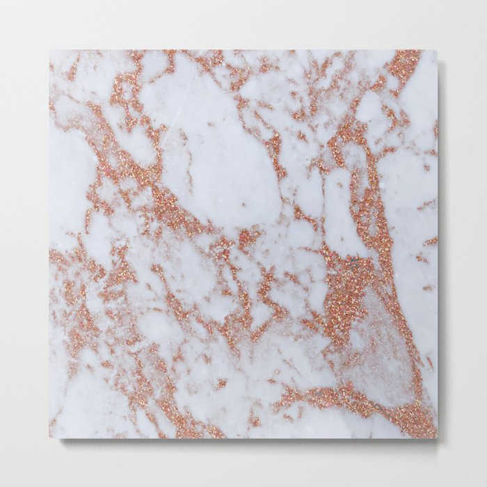 Intense rose gold marble Metal Print