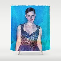 emma watson Shower Curtains featuring Emma Watson - Blue by André Joseph Martin