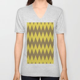 Yellow Brown Zigzag Horizontal Stripe Pattern 2021 Color of the Year Illuminating & Accent Shade Unisex V-Neck