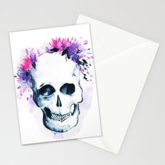 Skull Flowers Watercolor Stationery Cards