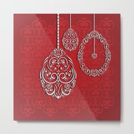 Silver lace hanging eggs on vibrant red background Metal Print