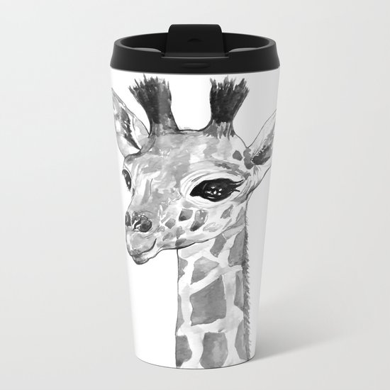 baby giraffe, black and white Metal Travel Mug