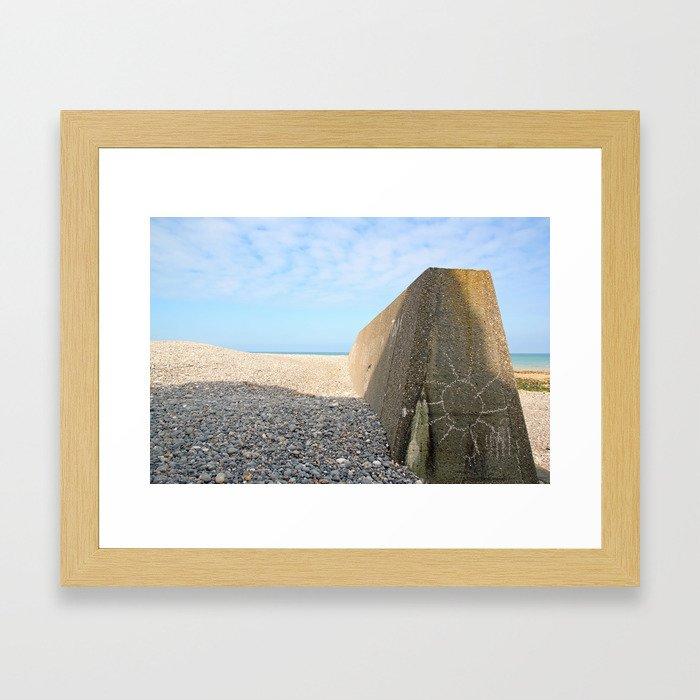 A sun on concrete. Beach of Sainte Marguerite sur mer (Bay of Somme France) Framed Art Print