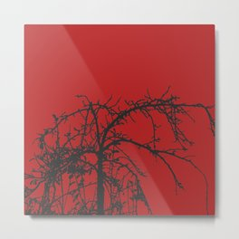 Creepy tree silhouette, black on red Metal Print