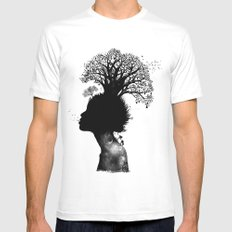 Natural Black Woman White MEDIUM Mens Fitted Tee