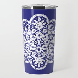 Floral Doily Pattern | Blue and White Travel Mug