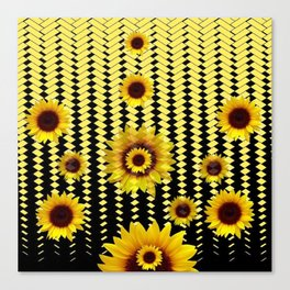 YELLOW SUNFLOWERS BLACK ABSTRACT PATTERNS ART Canvas Print