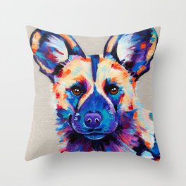Painted Hunting Dog / African wild dog Throw Pillow