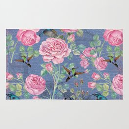 Vintage Watercolor hummingbird and English Roses on blue Background Rug
