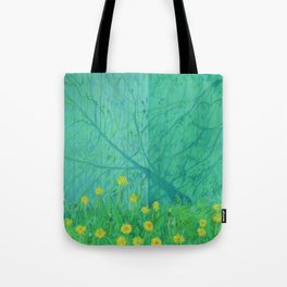 Shadows and Dandelions, Summer Garden, Pastel Painting, Impressionism Tote Bag