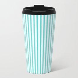 Classic Tiffany Aqua Blue and White Mattress Ticking Stripes Travel Mug