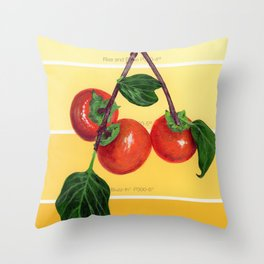 Persimmon Branch on Yellows Throw Pillow