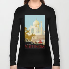 Visit India - Taj Mahal - Vintage Travel Poster Long Sleeve T-shirt