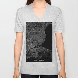 Detroit Black Map Unisex V-Neck